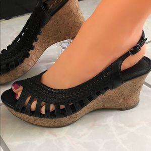 Nicole Black Leather Sling Back Cork Wedge Size 7M